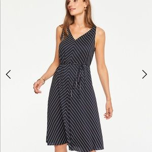 Ann Taylor stripe belted dress